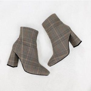 Boohoo Plaid Block Heel Booties